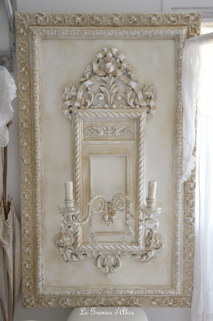 Grande applique patiné lin ornement moulure shabby chic romantique coupelle verre pampille cristal cadre sculpté creation le grenier dalice 2