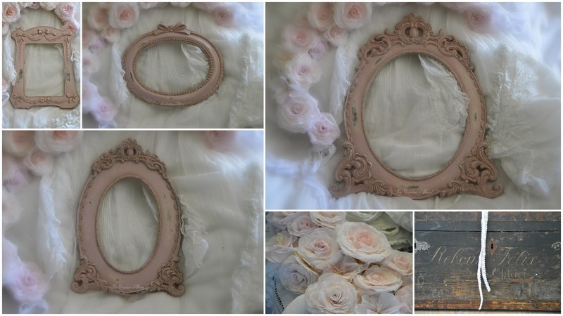 Petits cadres shabby chic patinés en vieux rose, shabby and romantic frames