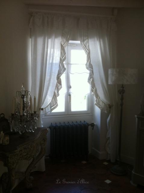 Rideau cantonniere rideau shabby chic volant rideau romantique lin blanc organdi broderie machine nouette vague