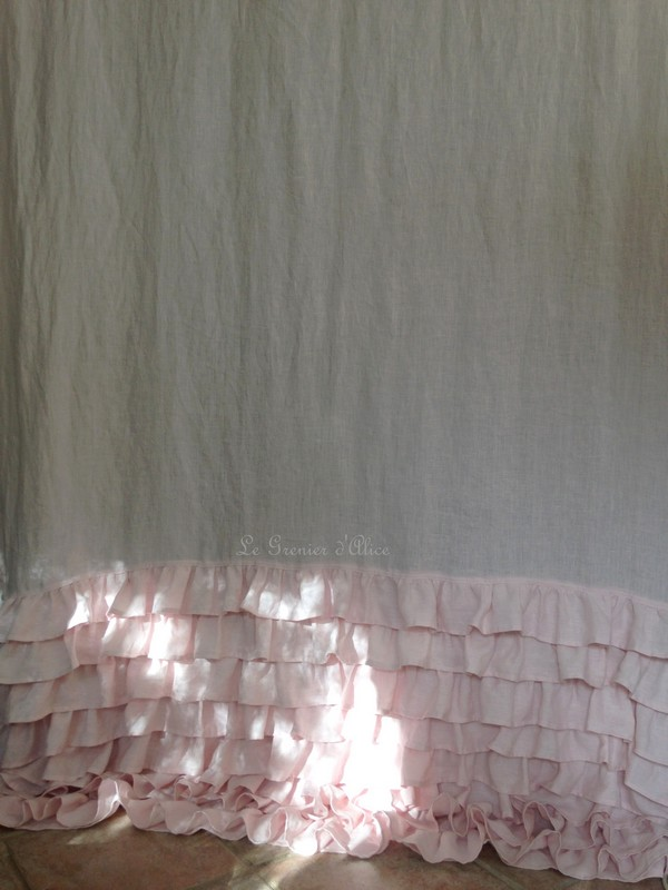 Rideau lin rose poudré volants ruffle rideau shabby chic couture shabby style rideau romantique le grenier dalice