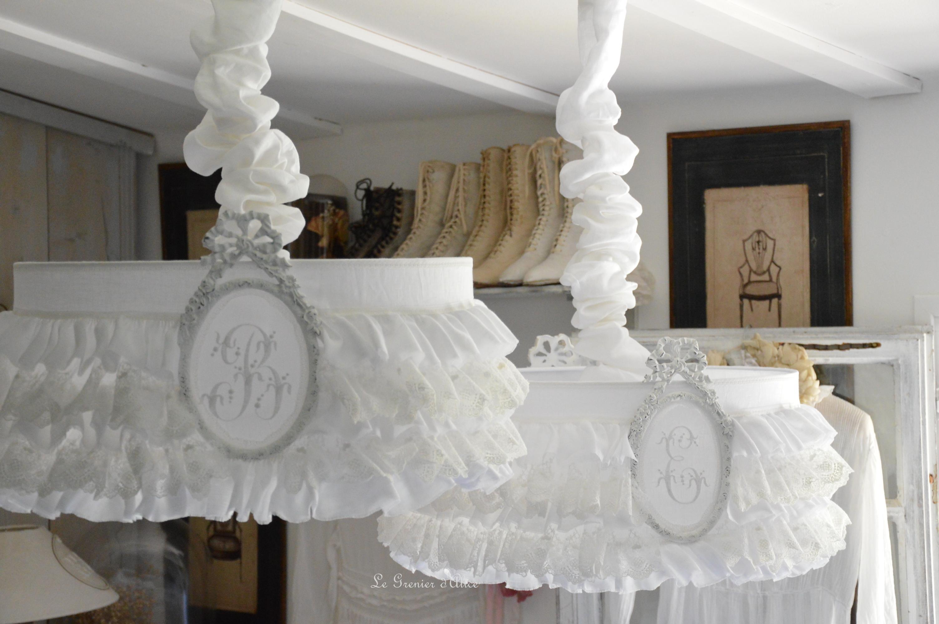 Rideau lin volant dentelle blanche le grenier d 39 alice Deco chambre romantique chic