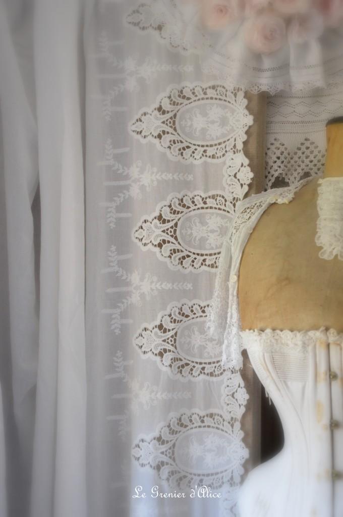 Tissu blanc coton rose poudré broderie dentelle tissu shabby chic tissu romantique tissu rideau coussin taie oreiller edredon housse de couette