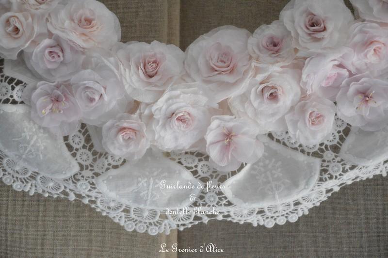 Guirlande couronne fleur rose papier crepon rose shabby chic dentelle blanche dentelle mariée ruban shabby rose papier romantique rose poudré romantic rose 1