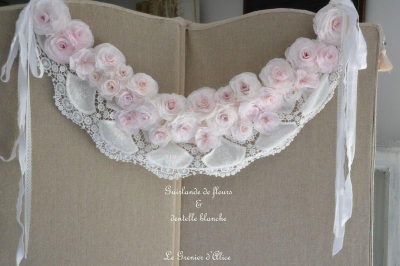 Guirlande couronne fleur rose papier crepon rose shabby chic dentelle blanche dentelle mariée ruban shabby rose papier romantique rose poudré romantic rose 2