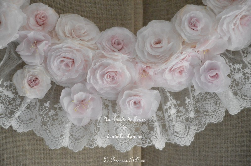 Guirlande couronne fleur rose papier crepon rose shabby chic dentelle blanche dentelle mariée ruban shabby rose papier romantique rose poudré romantic rose 3