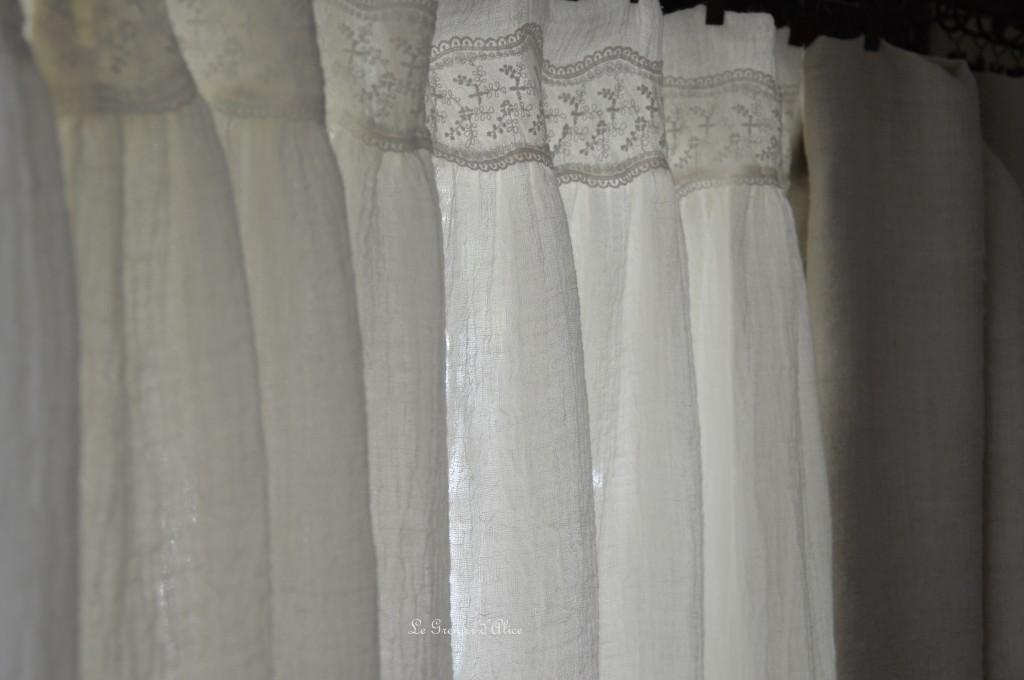 Rideau voile de lin shabby chic romantique dentelle shabby and romantic curtain 1
