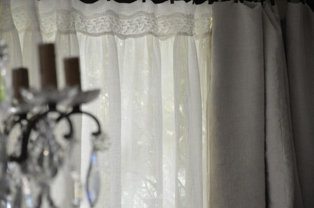 Rideau voile de lin shabby chic romantique dentelle shabby and romantic curtain 2