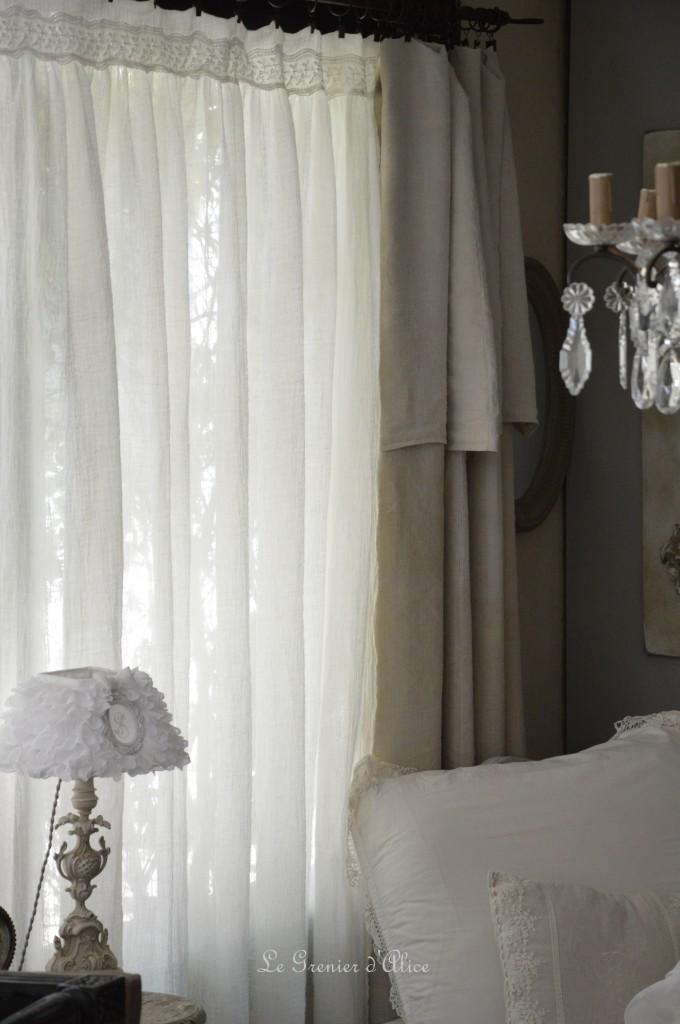 Rideau voile de lin shabby chic romantique dentelle shabby and romantic curtain