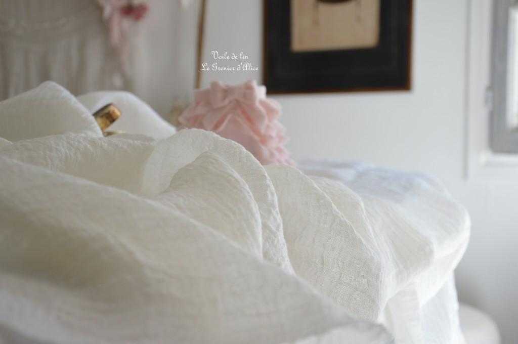 Voile de lin 130g au m2 voile de lin shabby chic pour rideau habillement robe textile coussin voile de lin romantique voile de lin blanc blanc cassé 1