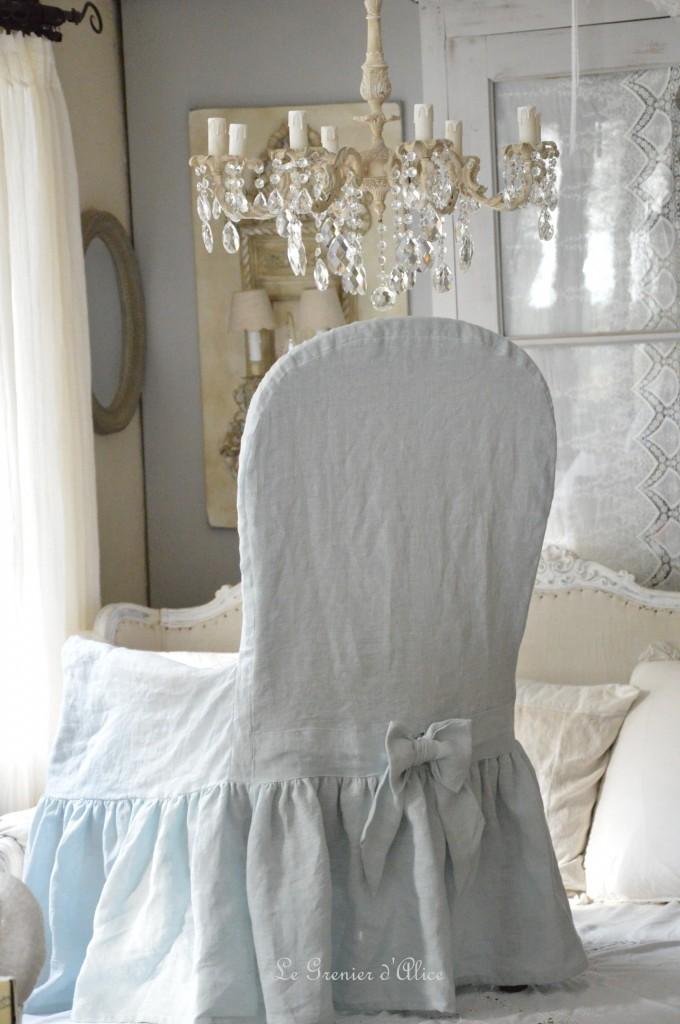 Housse fauteuil voltaire housse romantique et shabby chic lin lavé stone washed blanc rose poudré gris brume gris gustavien gris nuage celadon lin naturel housse froufrou 2