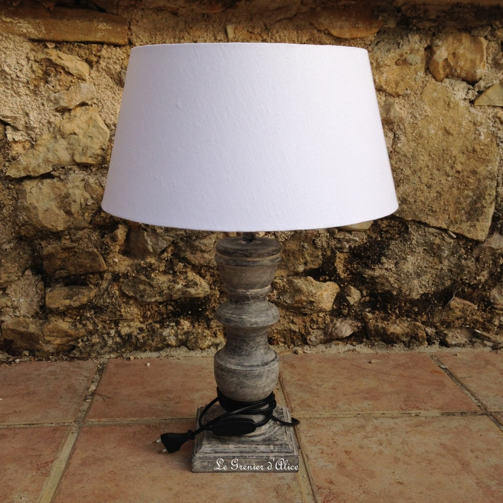 relooking avant lampe en lampe shabby chic romantique ornement gris patin lin lav blanc pied. Black Bedroom Furniture Sets. Home Design Ideas