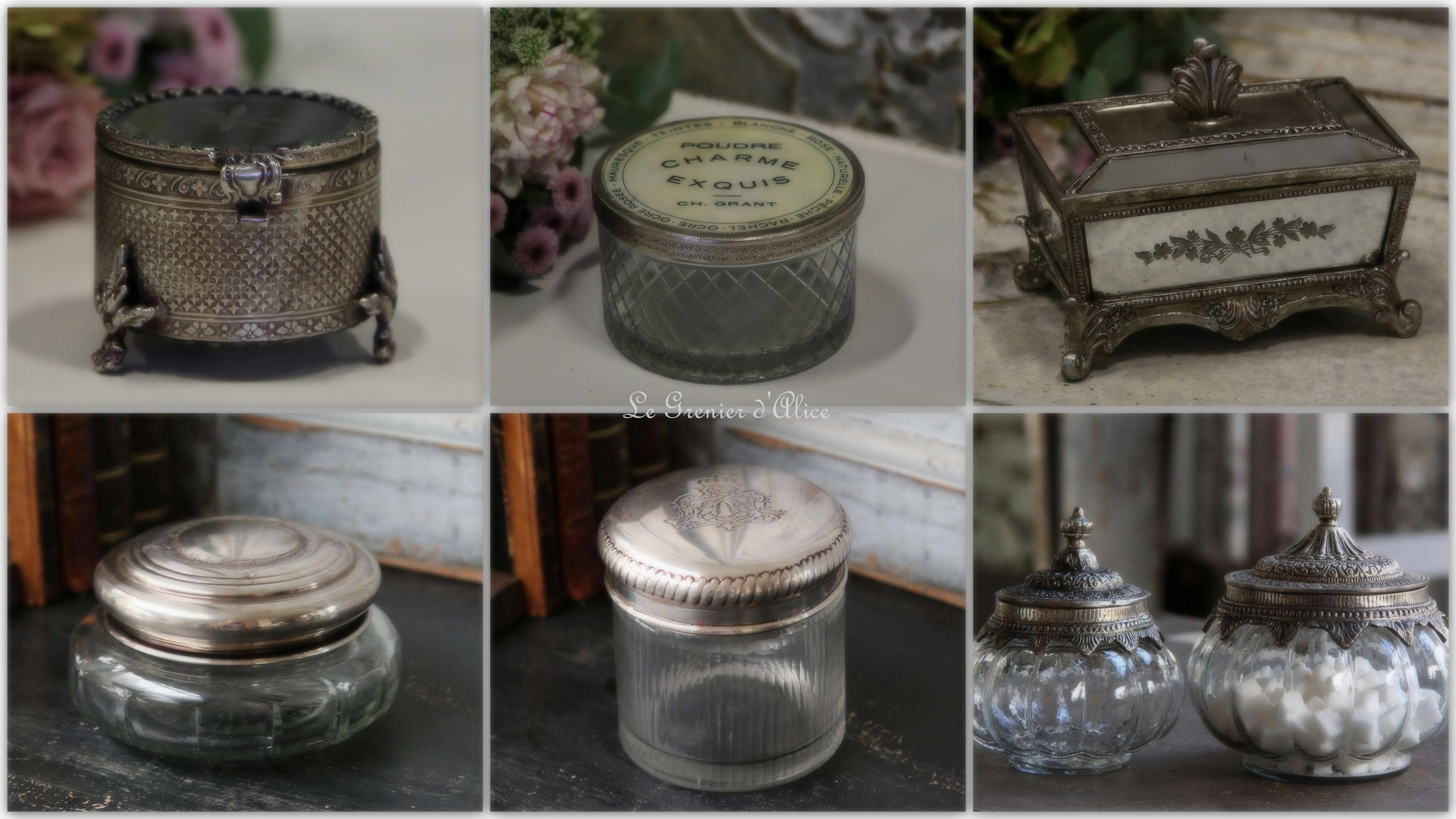 Collection boite à bijoux trésor pilule poudre en verrre et argent mercurisé de style ancien antique boite shabby chic romantique romantic and shabby silver glass silver box