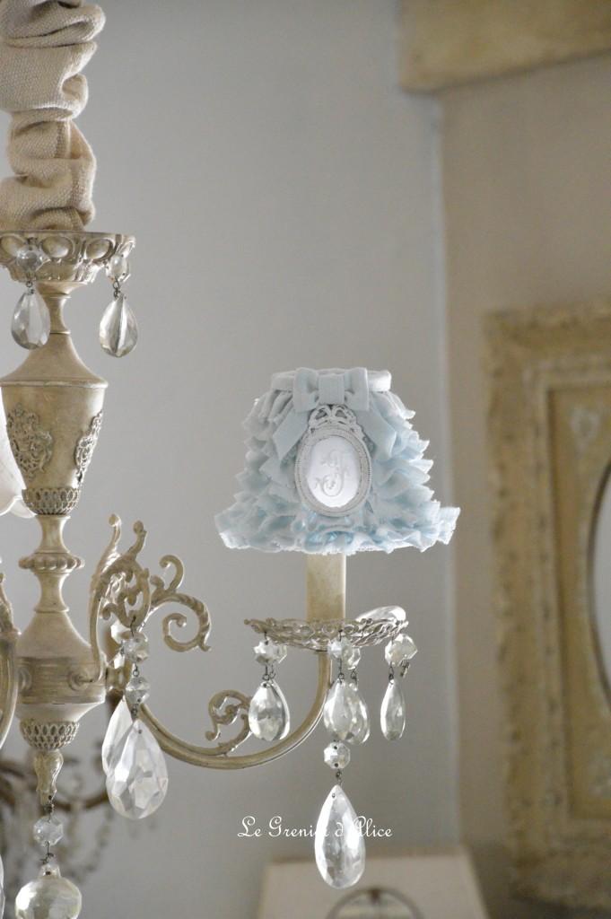 096fcf8f22c Abat jour romantique et shabby chic lin gris celadon gris gustavien gris  nordique abat jour froufrou