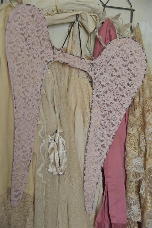 Ailes anges rose 60cm jeanne d arc living dentelle tulle nordique shabby chic romantique decoration interieure