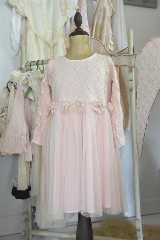 Robe enfant fée vintage Jeanne d Arc Living tulle broderie dentelle rose poudré romantique shabby chic nordique