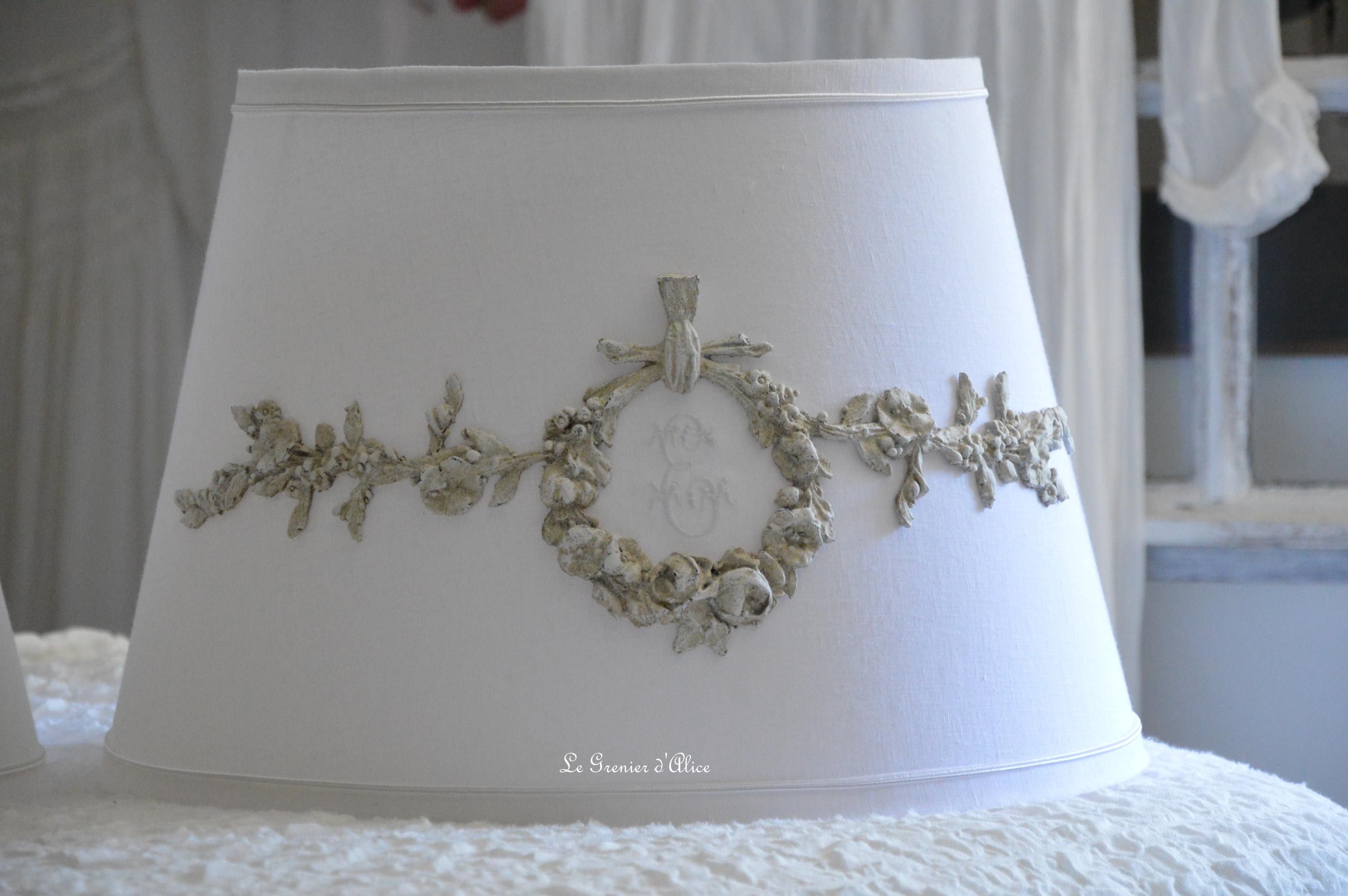Abat jour forme carcasse amerique conique chapeau chinois lin blanc abat jour shabby chic lampshade ornement patiné lin création