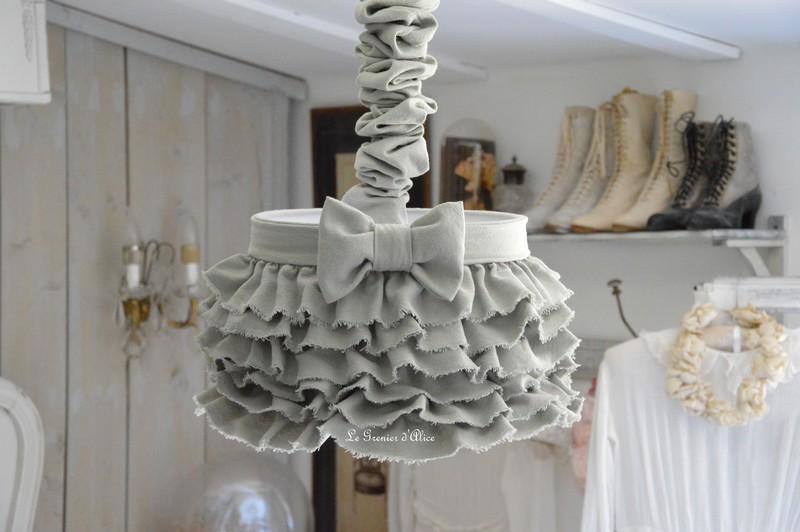 Abat jour suspension froufrou coton gris épais abat jour shabby chic ruffle lampshade chaussette lustre creation le grenier dalice gf1
