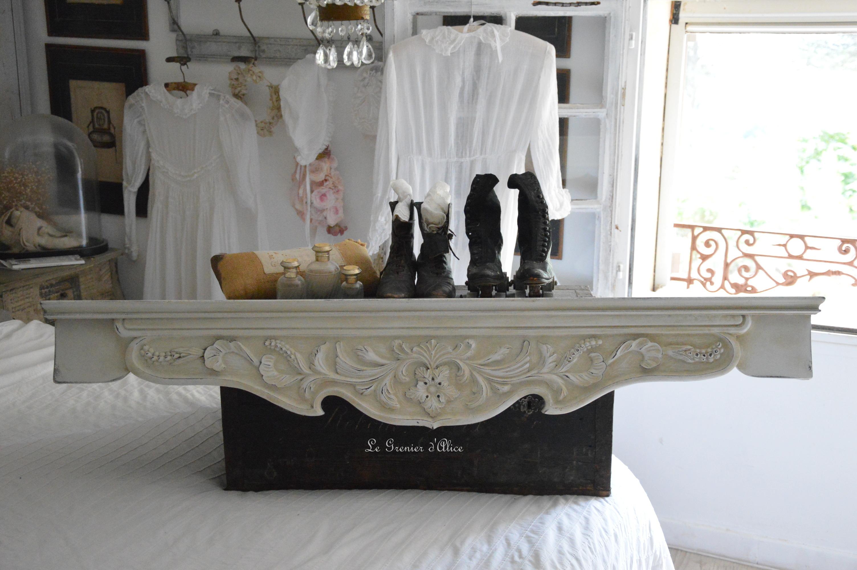 Cantonnière ciel de lit étagère shabby chic romantique création le grenier dalice 1