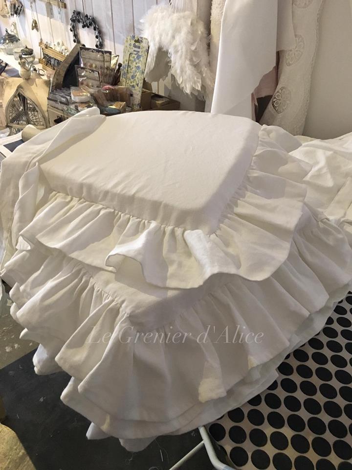 Galette de chaise drap ancien sur mesure sur demande galette romantique shabby chic