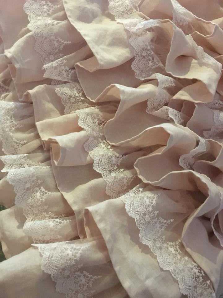 Rideau froufrou volant lin rose poudré rideau romantique shabby chic linen curtain shabby curtain