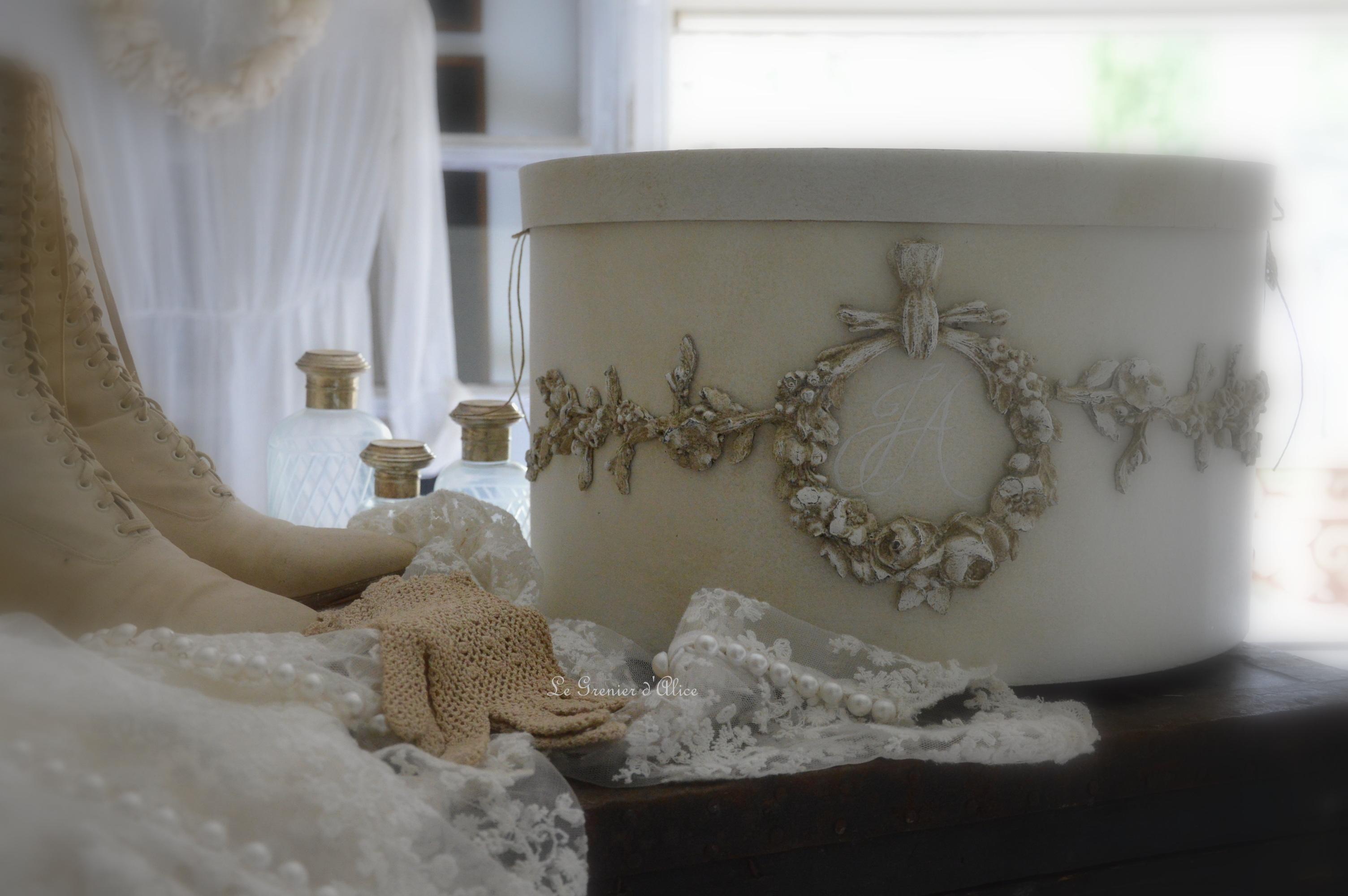 Urne boite mariage wedding box boite shabby chic et romantique noces création le grenier dalice